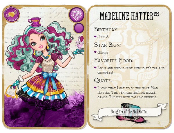 Cute Madeline Maddie Hatter From Ever After High Daughter Of The Mad And A Rebel